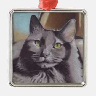 Ornamento De Metal Retrato cinzento do animal de estimação do gato