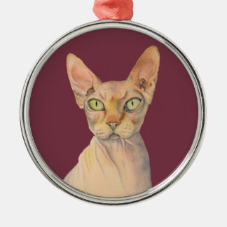 Ornamento De Metal Retrato da aguarela do gato de Sphynx