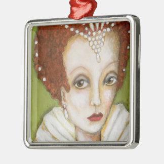 Ornamento De Metal Retrato Elizabeth mim rainha artística lunática