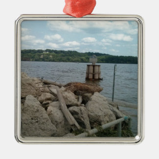 Ornamento De Metal Rio Mississípi de Riverwalk Dubuque Iowa