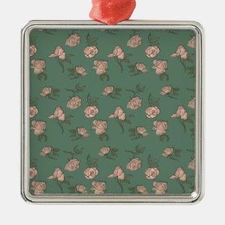 Ornamento De Metal Rosas cor-de-rosa na turquesa