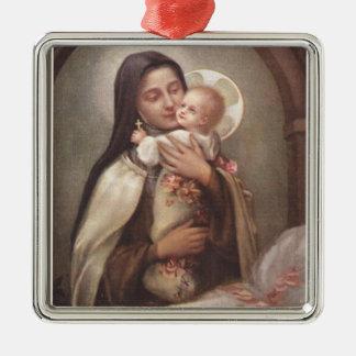 Ornamento De Metal Rosas do comedoiro de Jesus do bebê do St. Therese