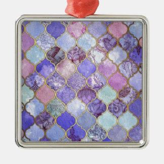 Ornamento De Metal Roxo e claro - teste padrão marroquino azul do