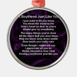 Ornamento De Metal Roxo - poema do namorado