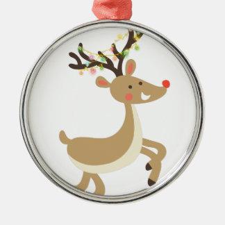Ornamento De Metal Rudolf com luzes de Natal, presente perfeito do