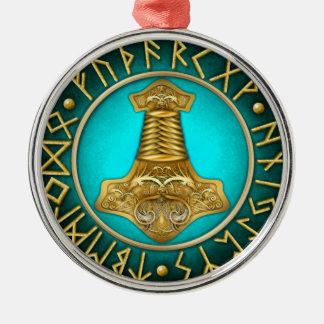 Ornamento De Metal Runes - martelo dos Thors - cerceta