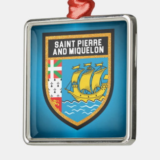 Ornamento De Metal Saint Pierre e bandeira de Miquelon