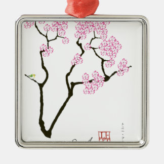 Ornamento De Metal sakura com pássaro verde, fernandes tony