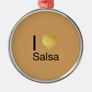 Ornamento De Metal Salsa Playfully elegante do coração de I