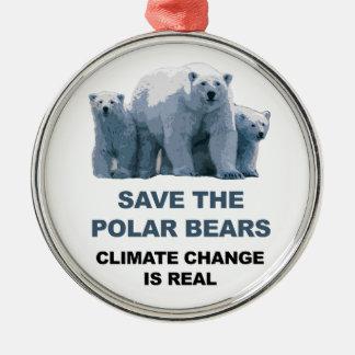 Ornamento De Metal Salvar os ursos polares