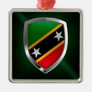 Ornamento De Metal Santo Kitts e emblema metálico de Nevis