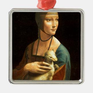 Ornamento De Metal Senhora da pintura de Da Vinci original com um
