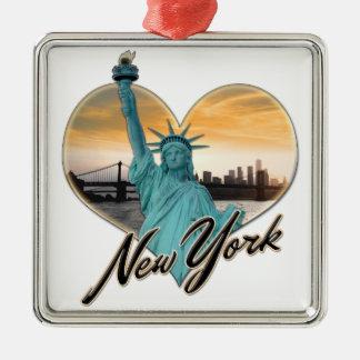 Ornamento De Metal Senhora Liberdade da lembrança da skyline da Nova