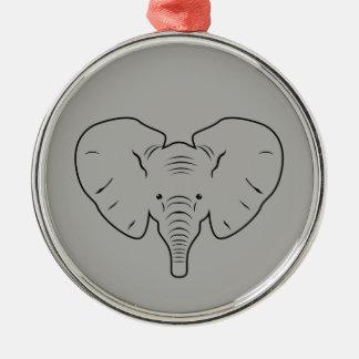 Ornamento De Metal Silhueta da cara do elefante