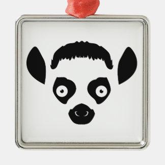 Ornamento De Metal Silhueta da cara do Lemur