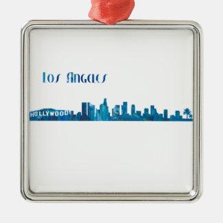 Ornamento De Metal Silhueta da skyline de Los Angeles