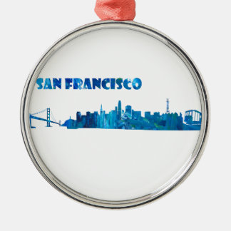 Ornamento De Metal Silhueta da skyline de San Francisco