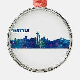 Ornamento De Metal Silhueta da skyline de Seattle