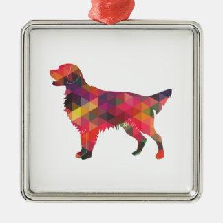Ornamento De Metal Silhueta geométrica do cão revestido liso do