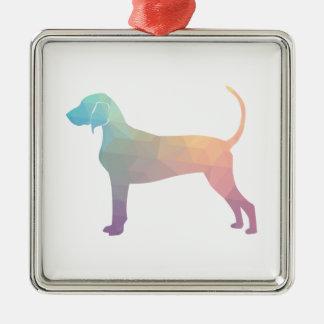 Ornamento De Metal Silhueta geométrica do Coonhound de Bluetick nos