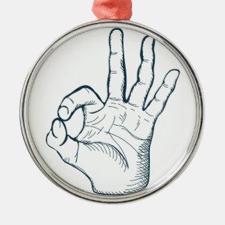Ornamento De Metal Sinal da mão da aprovação do vintage do esboço do