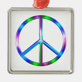 Ornamento De Metal Sinal de paz colorido brilhante