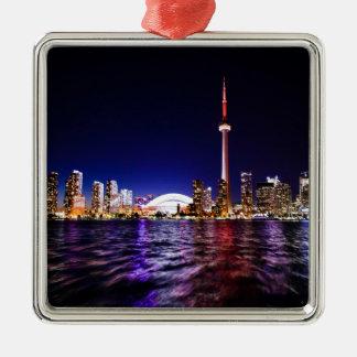 Ornamento De Metal Skyline da noite de Toronto