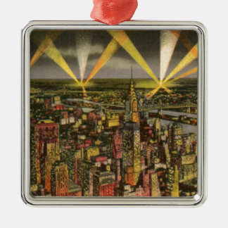 Ornamento De Metal Skyline da Nova Iorque do vintage