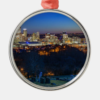 Ornamento De Metal Skyline de Pittsburgh no por do sol
