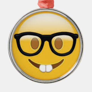 Ornamento De Metal Smiley face Geeky de Emoji