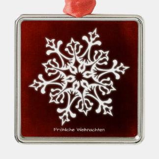 Ornamento De Metal Snowflake white on Dark Conversas natais Joviais