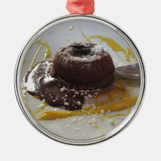 Ornamento De Metal Sobremesa morna do bolo da lava do fundente do