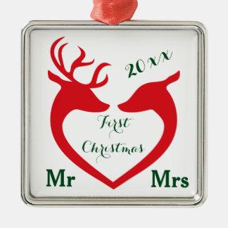 Ornamento De Metal Sr. e Sra. casados primeiro Natal Coração Cervo