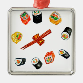 Ornamento De Metal Sushi Watercolor2 ajustado