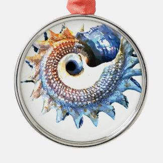 Ornamento De Metal T espiral dourado da ioga do Seashell da mandala