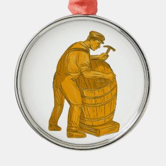 Ornamento De Metal Tanoeiro que faz o desenho de madeira do tambor