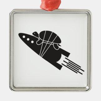 Ornamento De Metal tartaruga que monta um 🐢🚀 do foguete