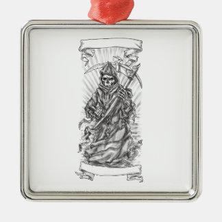 Ornamento De Metal Tatuagem da fita do Scythe do Ceifador
