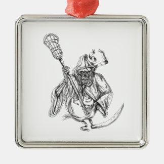 Ornamento De Metal Tatuagem de Pólo da defesa do Lacrosse do Ceifador