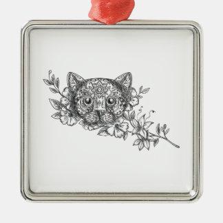 Ornamento De Metal Tatuagem principal da flor do jasmim do gato