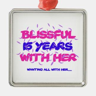 Ornamento De Metal Tendendo o 15o design do aniversário do casamento