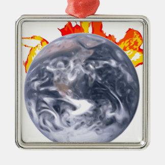Ornamento De Metal Terra do aquecimento global