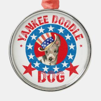 Ornamento De Metal Terrier calvo americano patriótico