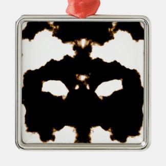 Ornamento De Metal Teste de Rorschach de um cartão da mancha da tinta