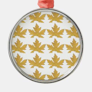 Ornamento De Metal Teste padrão amarelo da folha