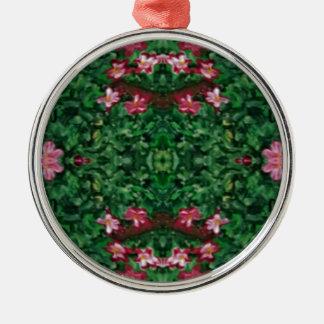 Ornamento De Metal Teste padrão artístico bonito do rosa verde