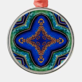 Ornamento De Metal Teste padrão artístico dos azuis marinhos modernos