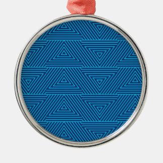 Ornamento De Metal teste padrão azul do triângulo