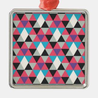 Ornamento De Metal Teste padrão azul e branco cor-de-rosa do