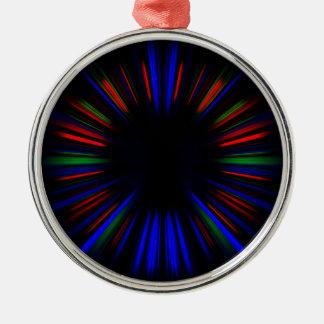Ornamento De Metal Teste padrão azul e vermelho do starburst